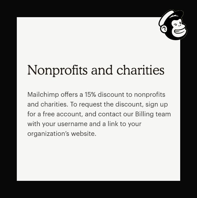 Mailchimp discounts for Nonprofits